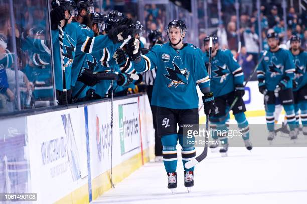 San Jose Sharks center Antti Suomela celebrates after scoring a firstperiod goal during the San Jose Sharks game versus the Nashville Predators on...