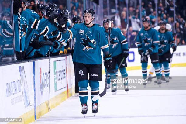 San Jose Sharks center Antti Suomela celebrates his firstperiod goal during the San Jose Sharks game versus the Nashville Predators on November 13 at...