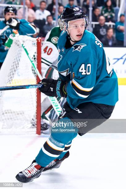 San Jose Sharks center Antti Suomela during the San Jose Sharks game versus the Minnesota Wild on November 6 at SAP Center in San Jose CA