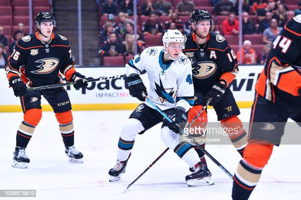 San Jose Sharks center Antti Suomela in action during a NHL preseason game between the Anaheim Ducks and the San Jose Sharks played on September 20...