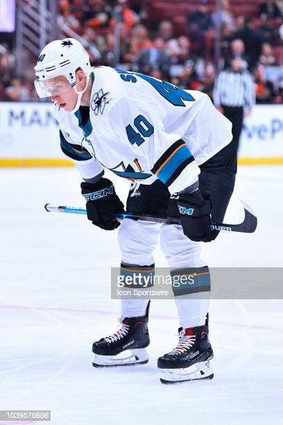 San Jose Sharks center Antti Suomela looks on during a NHL preseason game between the Anaheim Ducks and the San Jose Sharks played on September 20...