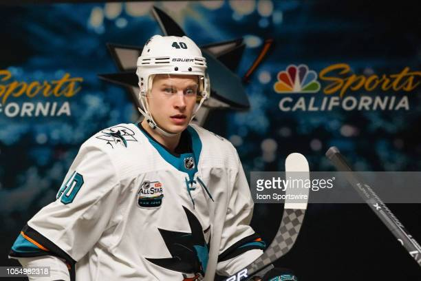 San Jose Sharks Center Antti Suomela prepares to take the ice during a game between the Carolina Hurricanes and the San Jose Sharks at the PNC Arena...