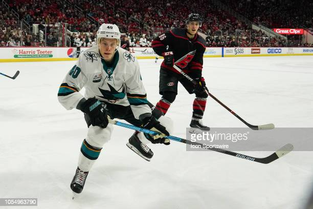 San Jose Sharks Center Antti Suomela skates after a loose puck during a game between the Carolina Hurricanes and the San Jose Sharks at the PNC Arena...