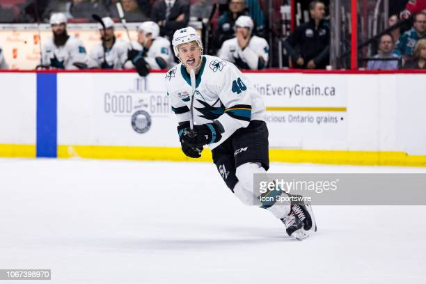 San Jose Sharks Center Antti Suomela skates with the play during third period National Hockey League action between the San Jose Sharks and Ottawa...