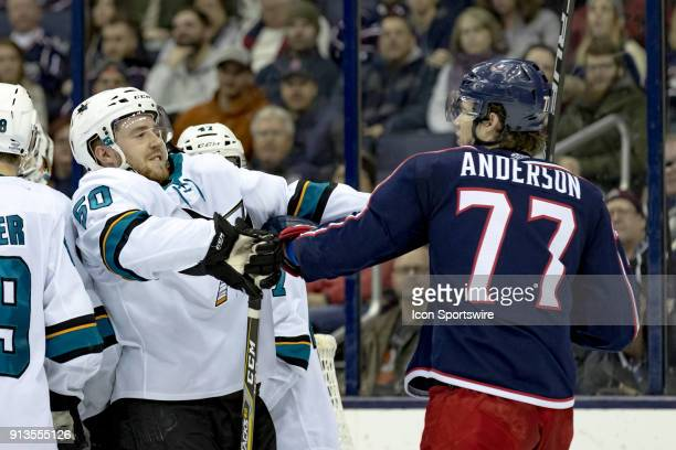 San Jose Sharks center Chris Tierney shoves Columbus Blue Jackets right wing Josh Anderson in the third period of a game between the Columbus Blue...