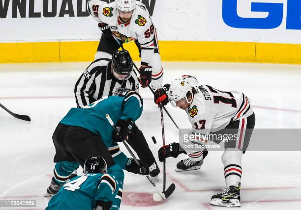 San Jose Sharks Center Joe Thornton and Chicago Blackhawks Center Dylan Strome face off during the game between the Chicago Blackhawks and the San...