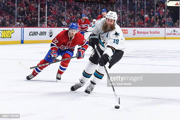 San Jose Sharks Center Joe Thornton controlling the puck while being chased by Montreal Canadiens Winger Brian Flynn during the San Jose Sharks...