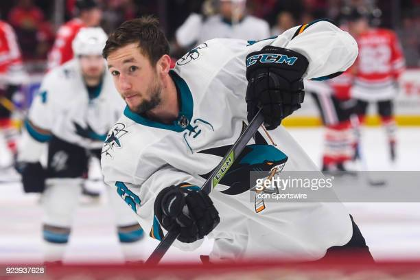 San Jose Sharks center Melker Karlsson warms up prior to a game between the Chicago Blackhawks and the San Jose Sharks on February 23 at the United...