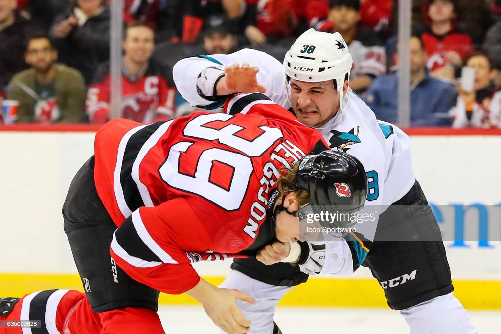 promo code c9b58 9f97f San Jose Sharks center Micheal Haley fights with New Jersey ...