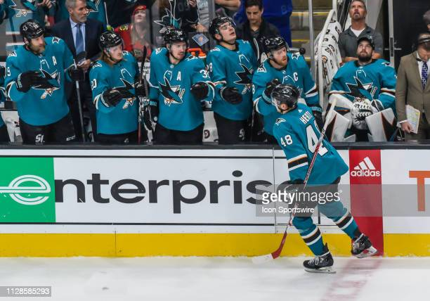 San Jose Sharks Center Tomas Hertl gets congratulations from the bench after scoring in the 1st period of the game between the Chicago Blackhawks and...