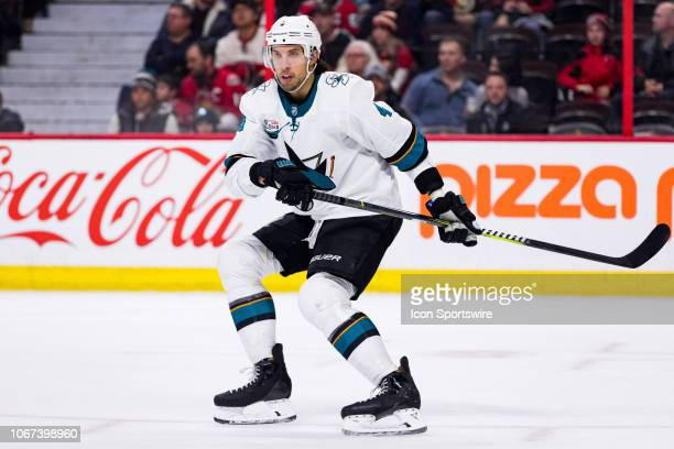San Jose Sharks Defenceman Brenden Dillon has his attention on the play during third period National Hockey League action between the San Jose Sharks...