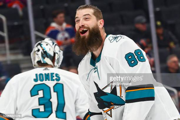 San Jose Sharks Defenceman Brent Burns jokes with team mates before the first period during the Edmonton Oilers game versus the San Jose Sharks on...