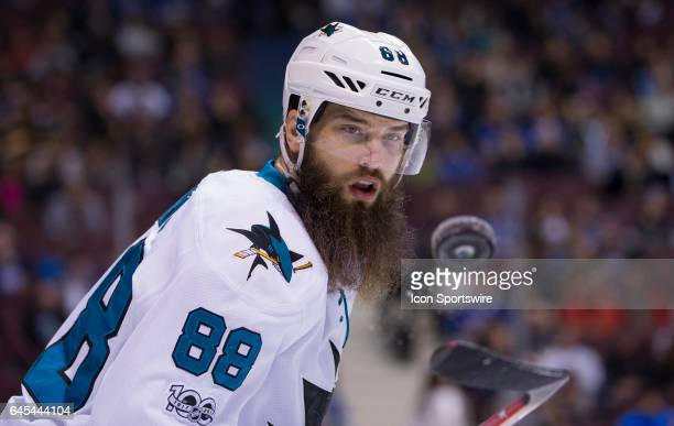 San Jose Sharks Defenceman Brent Burns looks at the loose puck against the Vancouver Canucks during a NHL hockey game on February 25 at Rogers Arena...