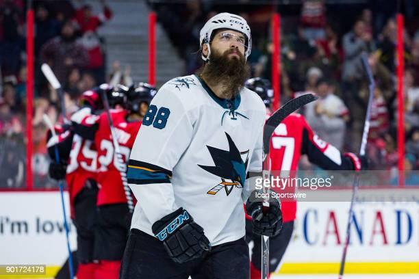 San Jose Sharks Defenceman Brent Burns looks skyward after the Ottawa Senators score a goal during third period National Hockey League action between...