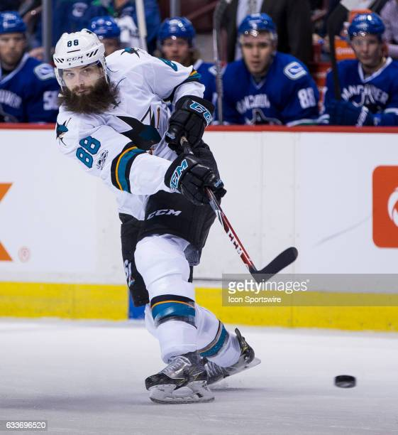 San Jose Sharks Defenceman Brent Burns shoots against the Vancouver Canucks during a NHL hockey game on February 02 at Rogers Arena in Vancouver BC