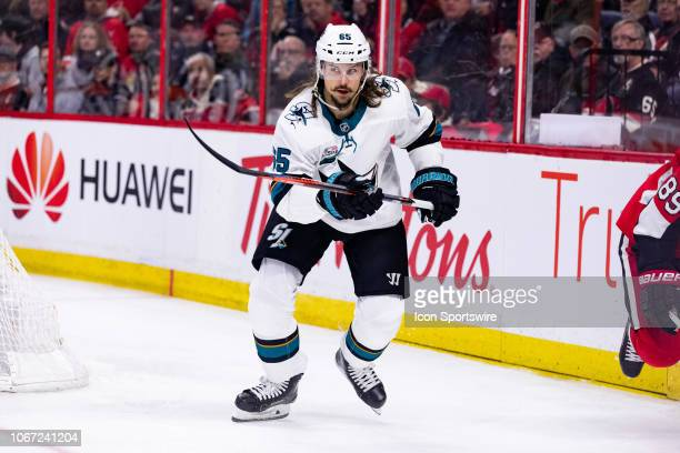 San Jose Sharks Defenceman Erik Karlsson skates after the play during first period National Hockey League action between the San Jose Sharks and...