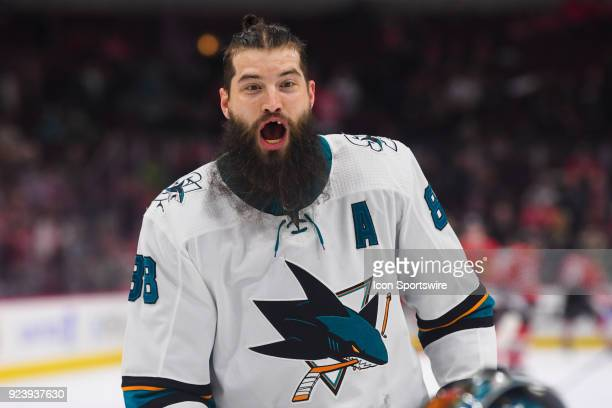 San Jose Sharks defenseman Brent Burns yells during warm ups prior to a game between the Chicago Blackhawks and the San Jose Sharks on February 23 at...
