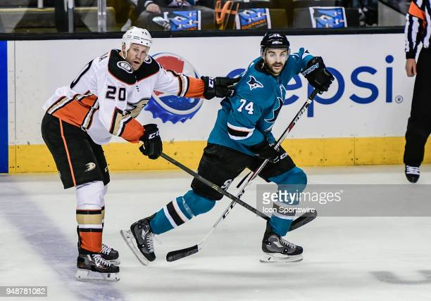 San Jose Sharks defenseman Dylan DeMelo looks for a pass as Anaheim Ducks left wing Jason Chimera pushes off during the Stanley Cup Playoff game...
