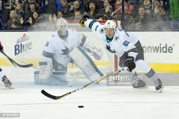 San Jose Sharks defenseman Justin Braun sprints towards the puck in the third period of a game between the Columbus Blue Jackets and the San Jose...