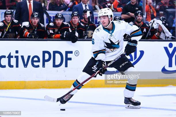 San Jose Sharks defensemen Ryan Merkley in action during a NHL preseason game between the Anaheim Ducks and the San Jose Sharks played on September...