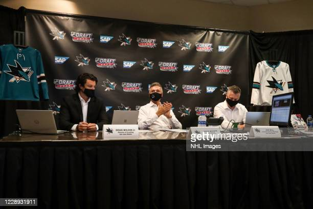 San Jose Sharks Director of Scouting Doug Wilson Jr., General Manager Doug Wilson and Assistant General Manager Joe Will prepare before Round One of...