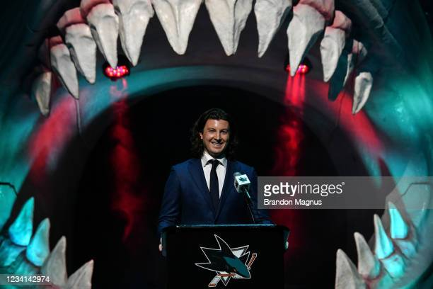 San Jose Sharks Director of Scouting Doug Wilson Jr. Stands at the podium as the Sharks select William Eklund seventh overall in the first round...