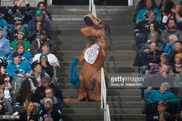 San Jose Sharks fan dresses up as a dinosaur during the game against the Dallas Stars at SAP Center on February 18 2018 in San Jose California