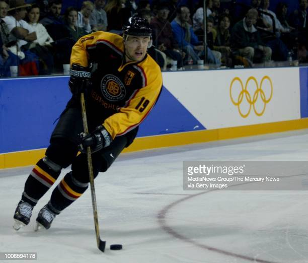 San Jose Sharks forward Marco Sturm plays for the German Team in an Olympics preliminary Round against Slovakia at the E Center in West Valley City,...