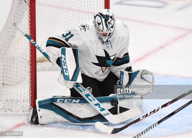 San Jose Sharks goalie Martin Jones blocks a shot during the first period of a game against the Anaheim Ducks played on November 14 2019 at the Honda...