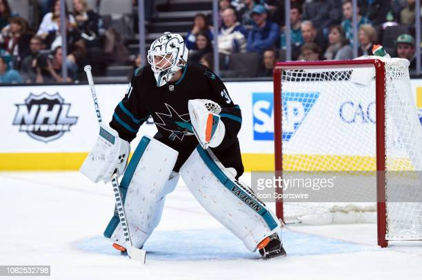 San Jose Sharks Goalie Martin Jones during the National Hockey League Game between the Toronto Maple Leafs and the San Jose Sharks on November 15...