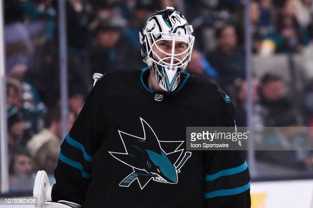 San Jose Sharks Goalie Martin Jones during the National Hockey League game between the Dallas Stars and the San Jose Sharks on December 13 2018 at...