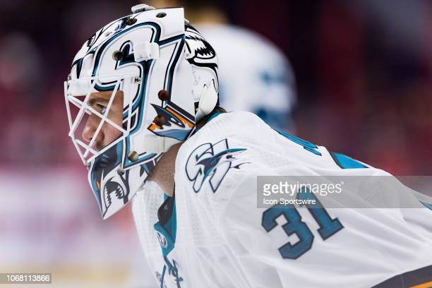 San Jose Sharks Goalie Martin Jones during warmup before National Hockey League action between the San Jose Sharks and Ottawa Senators on December 1...