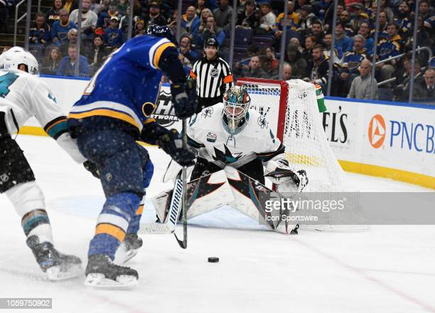 San Jose Sharks goalie Martin Jones gets ready to block a shot in the third period during a NHL game game between the San Jose Sharks and the St...