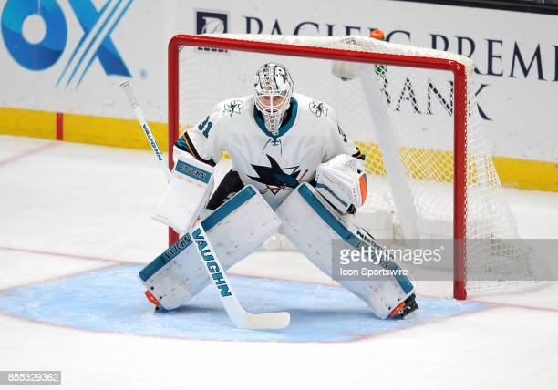 San Jose Sharks goalie Martin Jones in action during the first period of an NHL preseason game against the Anaheim Ducks on September 28 played at...