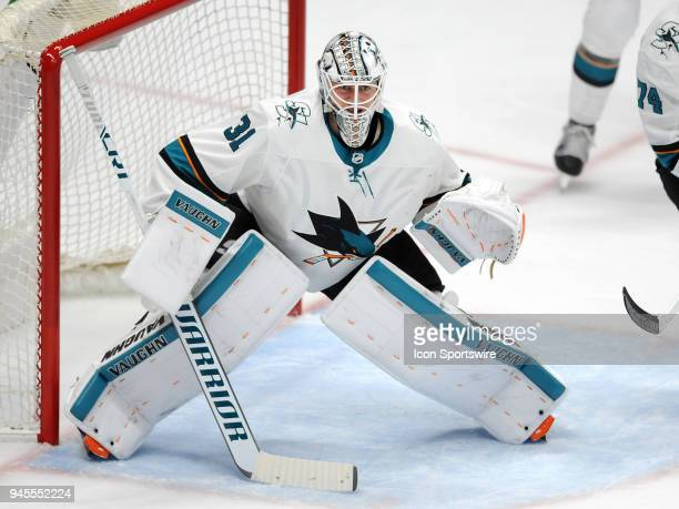 San Jose Sharks goalie Martin Jones in action during the second period of a Stanley Cup playoffs first round game 1 against the Anaheim Ducks played...