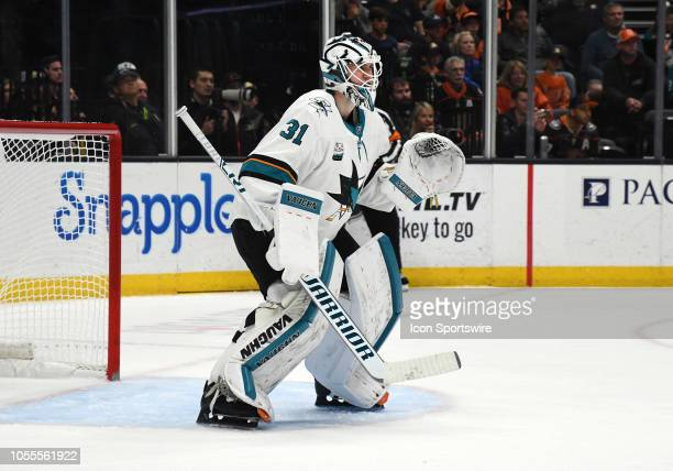 San Jose Sharks goalie Martin Jones in action during the third period of a game against the Anaheim Ducks played on October 28 2018 at the Honda...