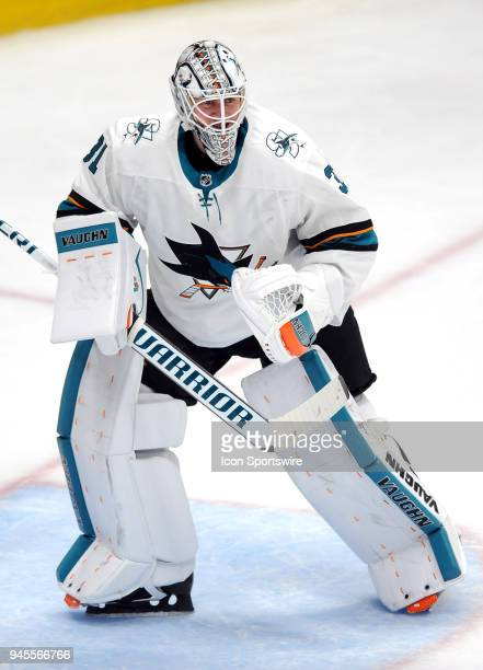 San Jose Sharks goalie Martin Jones in action during the third period of a Stanley Cup playoffs first round game 1 against the Anaheim Ducks played...