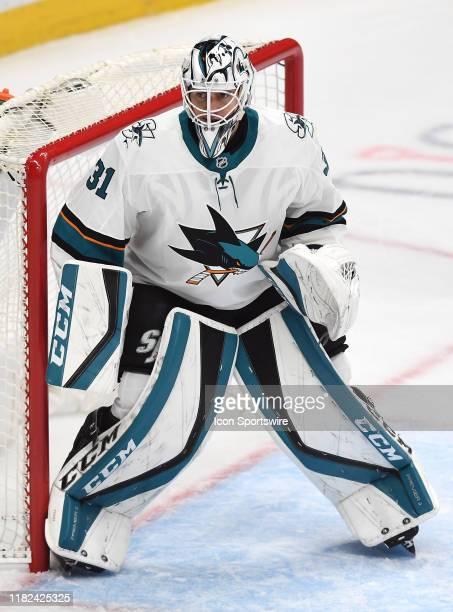 San Jose Sharks goalie Martin Jones in goal without a stick during the first period of a game against the Anaheim Ducks played on November 14 2019 at...