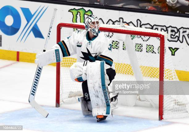 San Jose Sharks goalie Martin Jones in net during a break in the action of the first period of a game against the Anaheim Ducks played on October 28...
