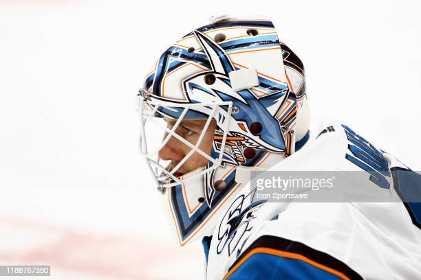 San Jose Sharks goalie Martin Jones is shown prior to the NHL game between the Nashville Predators and San Jose Sharks held on December 10 at...