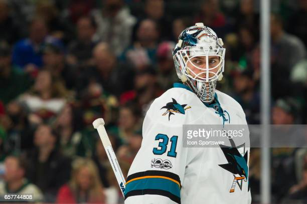 San Jose Sharks goalie Martin Jones looks on in the 2nd period during the Western Conference match up between the San Jose Sharks and the Minnesota...