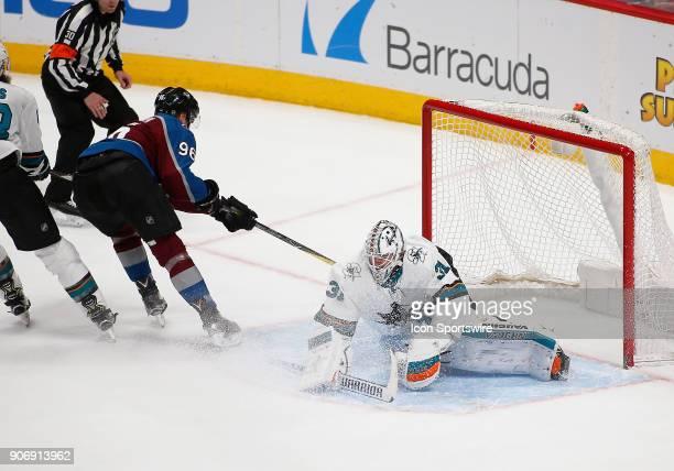 San Jose Sharks goalie Martin Jones makes a kick save on a shot from Colorado Avalanche right wing Mikko Rantanen during a regular season game...