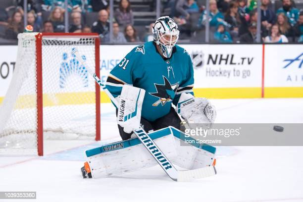 San Jose Sharks goalie Martin Jones makes a save during the San Jose Sharks game versus the Vegas Golden Knights on September 22 at SAP Center at San...