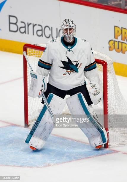 San Jose Sharks goalie Martin Jones stands in goal during a regular season game between the Colorado Avalanche and the visiting San Jose Sharks on...