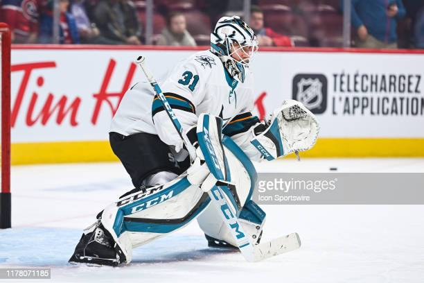 San Jose Sharks goalie Martin Jones takes shots at warmup before the San Jose Sharks versus the Montreal Canadiens game on October 24 at Bell Centre...