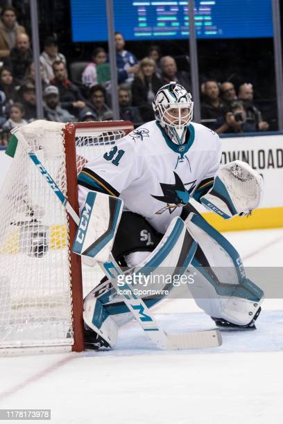 San Jose Sharks Goalie Martin Jones tends the goal during the NHL regular season game between the San Jose Sharks and the Toronto Maple Leafs on...