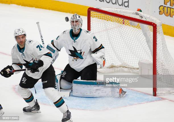 San Jose Sharks goalie Martin Jones watches a loose puck in the air during a regular season game between the Colorado Avalanche and the visiting San...