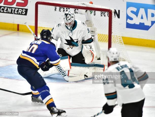 San Jose Sharks goaltender Martin Jones blocks a shot by St Louis Blues center Brayden Schenn in the second period during game six of the NHL Western...