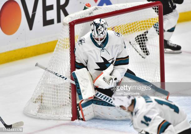 San Jose Sharks goaltender Martin Jones blocks a shot in the first period during game six of the NHL Western Conference Final between the San Jose...