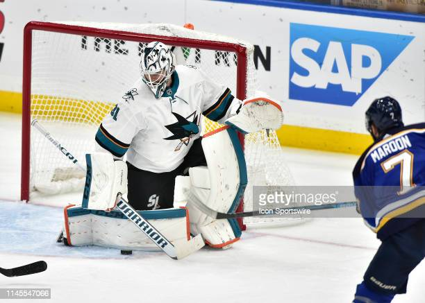 San Jose Sharks goaltender Martin Jones blocks a shot in the second period during game six of the NHL Western Conference Final between the San Jose...